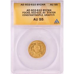 602-610 AD Ancient Byzantine Phocas Constantinople Stater Gold Coin ANACS AU55