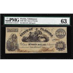 1862 $100 State of Florida Tallahassee Cr.10 Obsolete Note PMG Ch. Uncirculated 63