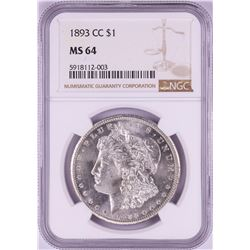1893-CC $1 Morgan Silver Dollar Coin NGC MS64