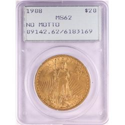 1908 $20 St. Gaudens Double Eagle Gold Coin PCGS MS62 Old Green Rattler