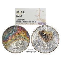 1881-S $1 Morgan Silver Dollar Coin NGC MS62 Amazing Toning