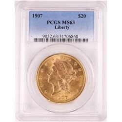 1907 $20 Liberty Head Double Eagle Gold Coin PCGS MS63