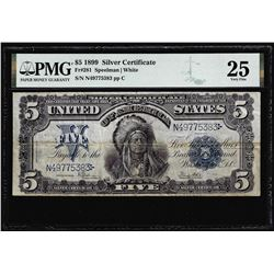 1899 $5 Indian Chief Silver Certificate Note Fr.281 PMG Very Fine 25