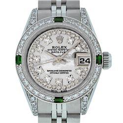 Rolex Ladies Stainless Steel MOP Diamond & Emerald Datejust Watch