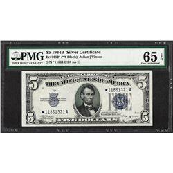 1934B $5 Silver Certificate STAR Note Fr.1652* PMG Gem Uncirculated 65EPQ