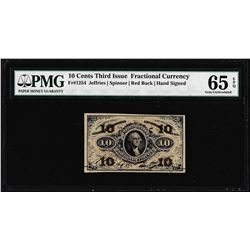1863 Ten Cents Third Issue Fractional Currency Note Fr.1254 PMG Gem Uncirculated 65EPQ