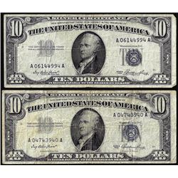 Lot of (2) 1953 $10 Silver Certificate Notes