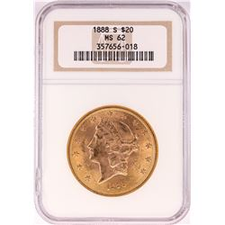 1888-S $20 Liberty Head Double Eagle Gold Coin NGC MS62