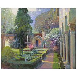 "Ming Feng ""Garden Arches"" Original Oil On Canvas"