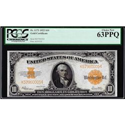 1922 $10 Gold Certificate Note Fr.1173 PCGS Choice New 63PPQ