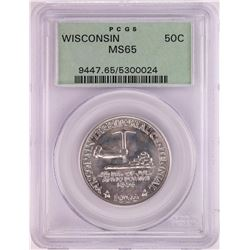 1936 Wisconsin Centennial Commemorative Half Dollar Coin PCGS MS65 Old Green Holder