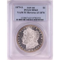 1879-S Reverse of 1878 VAM51 $1 Morgan Silver Dollar Coin PCGS MS62 Top 100