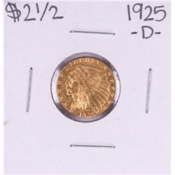 1925-D $2 1/2 Indian Head Quarter Eagle Gold Coin
