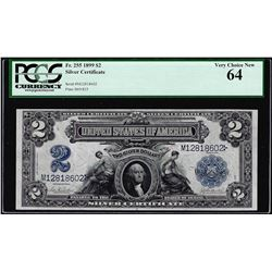 1899 $2 Mini-Porthole Silver Certificate Note Fr.255 PCGS Very Choice New 64