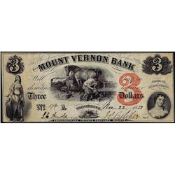 1858 $3 Mount Vernon Bank Providence, Rhode Island Obsolete Note