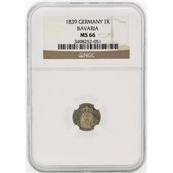 1839 Germany Kreuzer Coin NGC MS66