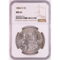 1884-O $1 Morgan Silver Dollar Coin NGC MS61 Great Toning
