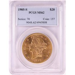 1905-S $20 Liberty Head Double Eagle Gold Coin PCGS MS62