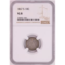 1867-S Seated Liberty Dime Coin NGC VG8