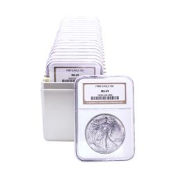 1986-2004 American Silver Eagle (20) Coin Set NGC MS69