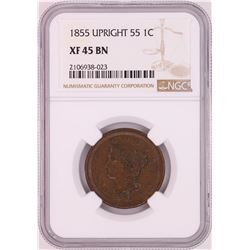 1855 Upright 55 Braided Hair Large Cent Coin NGC XF45BN