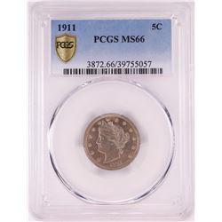 1911 Liberty Head V Nickel Coin PCGS MS66
