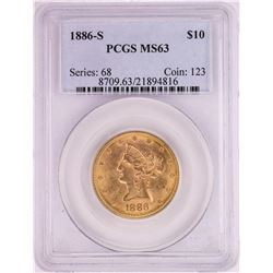 1886-S $10 Liberty Head Eagle Gold Coin PCGS MS63