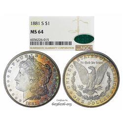 1881-S $1 Morgan Silver Dollar Coin NGC MS64 CAC Amazing Toning
