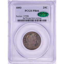1893 Proof Barber Quarter Coin PCGS PR66 CAC