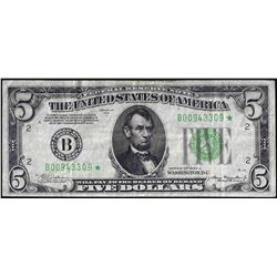 1934A $5 Federal Reserve STAR Note New York