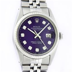 Rolex Men's Stainless Steel Purple Diamond 36MM Datejust Watch