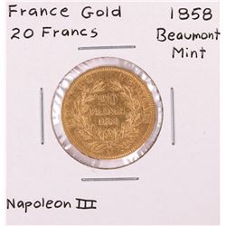 1858 Beaumont Mint France 20 Francs Gold Coin