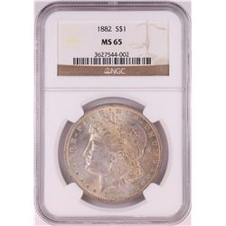1882 $1 Morgan Silver Dollar Coin NGC MS65