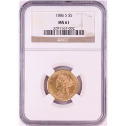 1886-S $5 Liberty Head Half Eagle Gold Coin NGC MS61