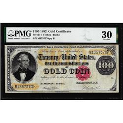1882 $100 Gold Certificate Note Fr.1214 PMG Very Fine 30
