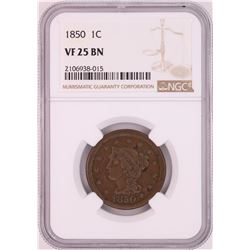 1850 Braided Hair Large Cent Coin NGC VF25BN