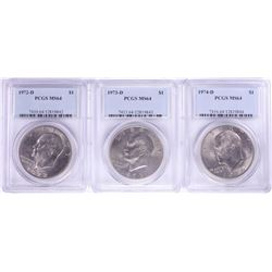 Lot of 1972-D to 1974-D $1 Eisenhower Silver Dollar Coins PCGS MS64