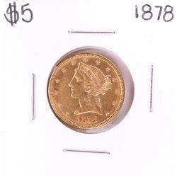 1878 $5 Liberty Head Half Eagle Gold Coin