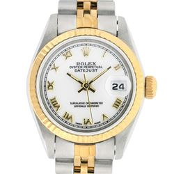 Rolex Ladies Two Tone Steel & Gold White Roman 26MM Oyster Perpetual Datejust Watch