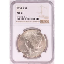 1934-S $1 Peace Silver Dollar Coin NGC MS61