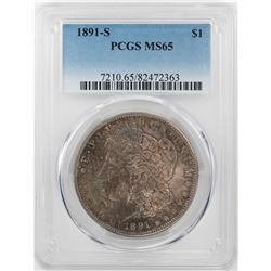 1891-S $1 Morgan Silver Dollar Coin PCGS MS65