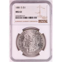 1881-S $1 Morgan Silver Dollar Coin NGC MS61 Great Toning
