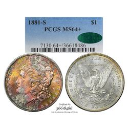 1881-S $1 Morgan Silver Dollar Coin PCGS MS64+ CAC Amazing Toning