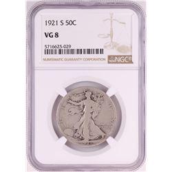1921-S Walking Liberty Half Dollar Coin NGC VG8