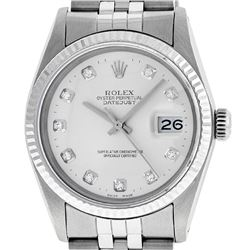 Rolex Men's Stainless Silver Diamond 36MM Datejust Wristwatch