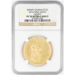 2014 $200 Proof Niue Disney Goofy Gold Coin NGC PF70 Ultra Cameo