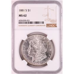 1881-S $1 Morgan Silver Dollar Coin NGC MS62 Great Toning