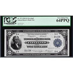 1918 $2 Battleship Federal Reserve Bank Note Cleveland Fr.757 PCGS Choice New 64PPQ
