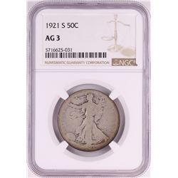1921-S Walking Liberty Half Dollar Coin NGC AG3