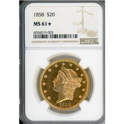 1858 $20 Liberty Head Double Eagle Gold Coin NGC MS61* STAR
